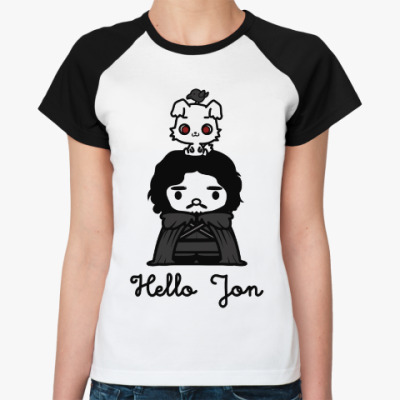 Женская футболка реглан Hello Jon
