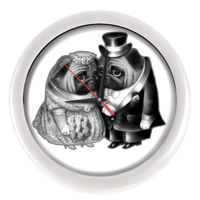 Настенные часы Совет да любовь. Свадьба мопсов