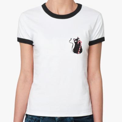 Женская футболка Ringer-T Кот