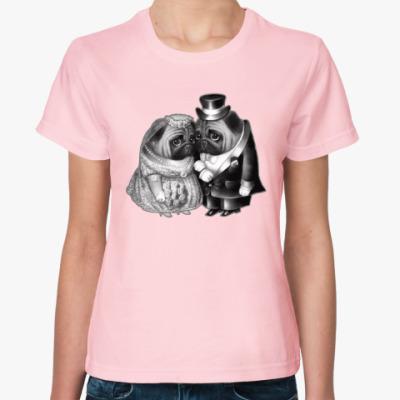 Женская футболка Совет да любовь. Свадьба мопсов