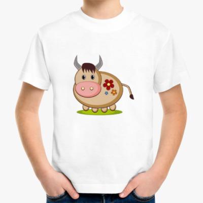 Детская футболка Коровка на лугу