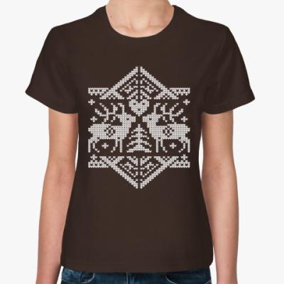 Женская футболка Олени. Deers. Knitt. Зима.