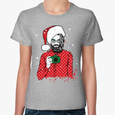 Женская футболка Санта Хипстер