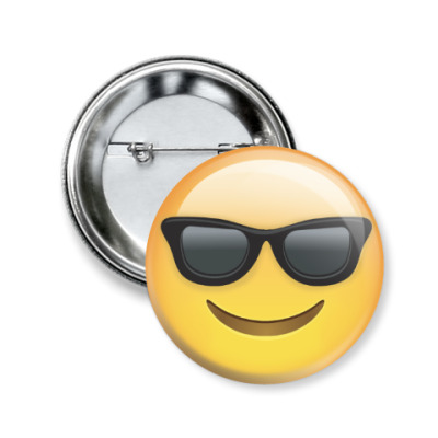Значок 50мм SMILING FACE WITH SUNGLASS