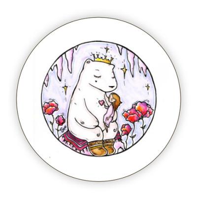 Костер (подставка под кружку) Полярный медведь и девочка