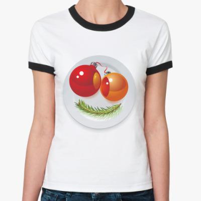 Женская футболка Ringer-T Новогодняя рожица