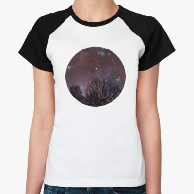 Женская футболка реглан Ночное небо
