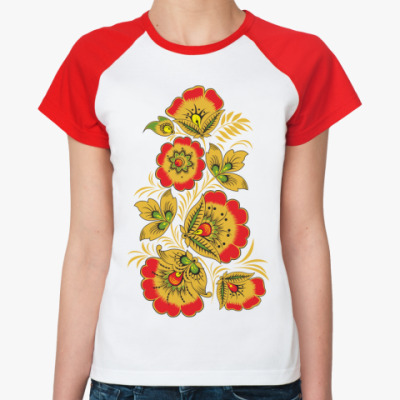 Женская футболка реглан  'Красные маки'