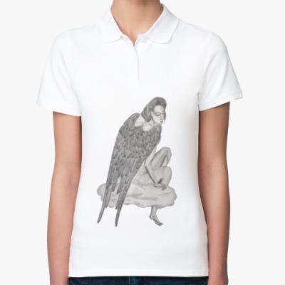 Женская рубашка поло  Ангел на облаке
