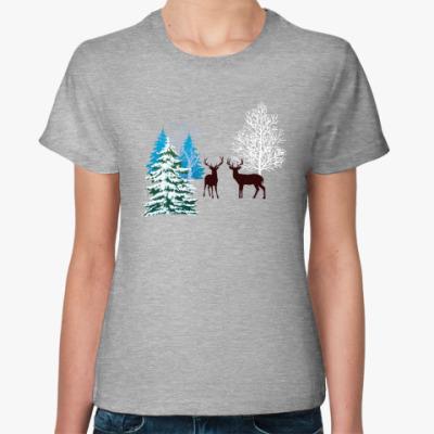 Женская футболка Зимние олени