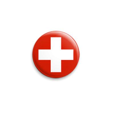 Значок 25мм красный крест