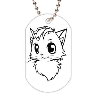 Жетон dog-tag Белый кот new
