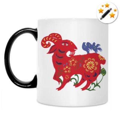 Кружка-хамелеон Баран с цветами и птицами