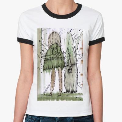 "Женская футболка Ringer-T  Жен. ""Шкафный мир"""