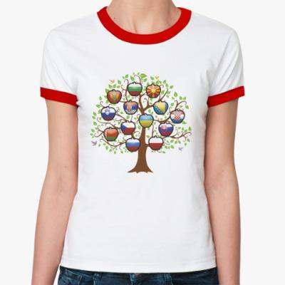 Женская футболка Ringer-T Славянское дерево