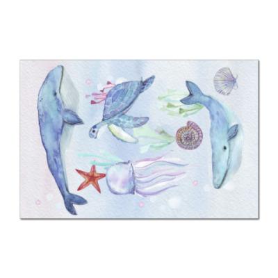 Наклейка (стикер) Акварельный подводный мир