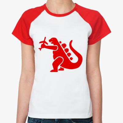 Женская футболка реглан Дракон Годзи