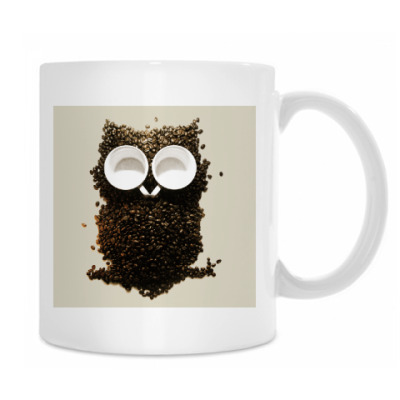 Кружка белая кофейная сова