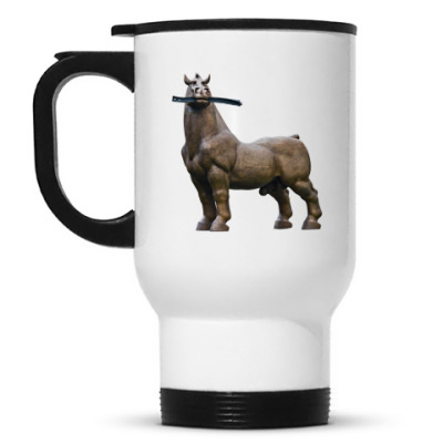Кружка-термос Конь жует рельсу