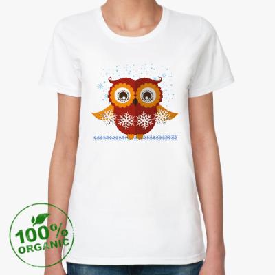 Женская футболка из органик-хлопка Сова со снежинками