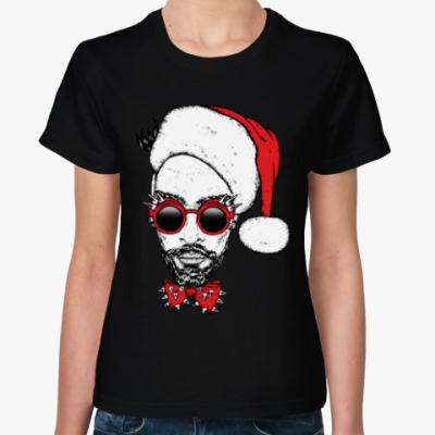 Женская футболка Хипстер Санта