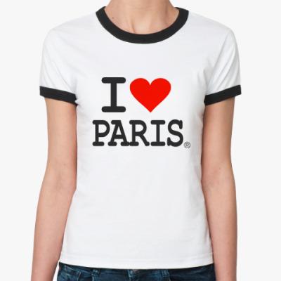 Женская футболка Ringer-T I love Paris