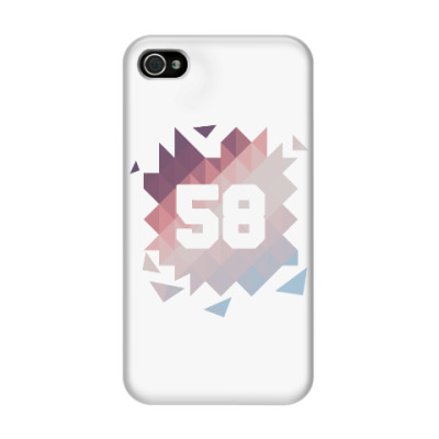 Чехол для iPhone 4/4s Цифра 58 (Low Poly)