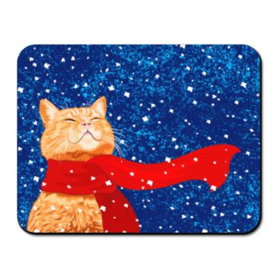 Коврик для мыши Новогодний котик в снегу