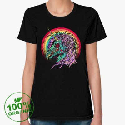 Женская футболка из органик-хлопка Зомби единорог