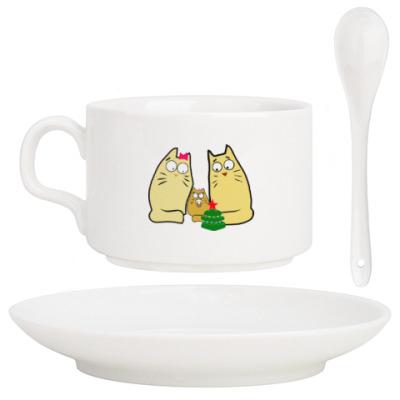 Кофейный набор Кошачья семейка