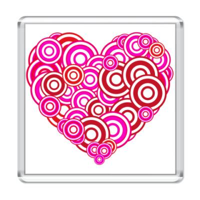 Магнит Сердце-круги