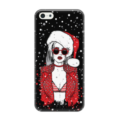 Чехол для iPhone 5/5s Снегурочка хипстер