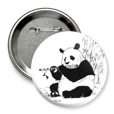 Значок 75мм Панда с флейтой