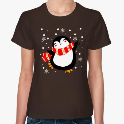 Женская футболка Веселый пингвин