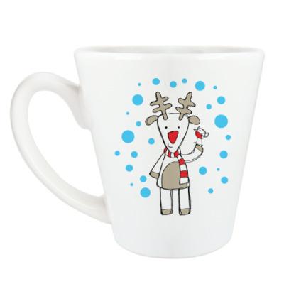 Чашка Латте Олень и снегирь в Новый год