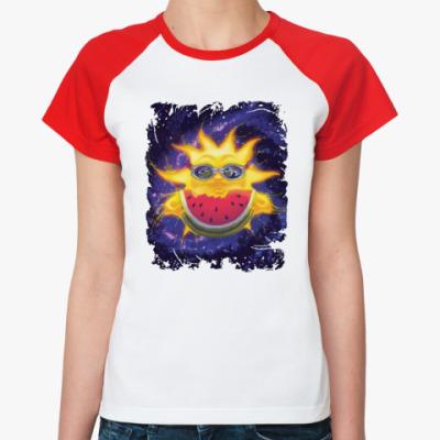 Женская футболка реглан Солнечный арбуз