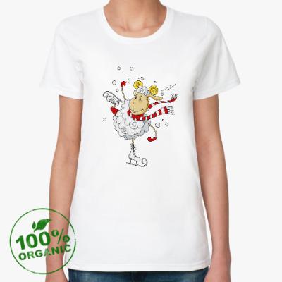 Женская футболка из органик-хлопка Овечка на коньках