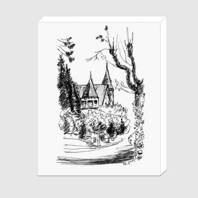 Холст Дом и Дерево