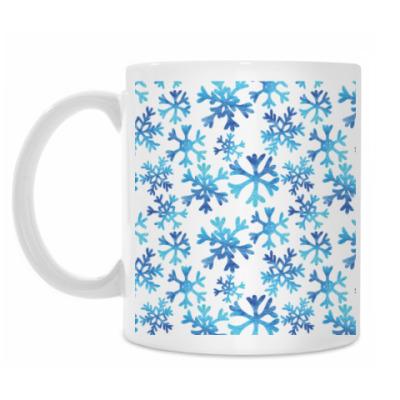 Кружка Акварельные снежинки