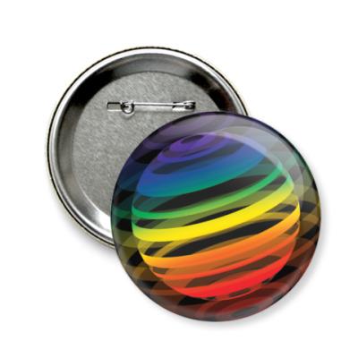 Значок 58мм   Разноцветный шар