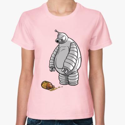 Женская футболка Робот и пиво