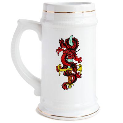 Пивная кружка Дракон и меч
