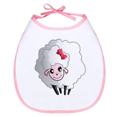 Слюнявчик овечка  с бантиком