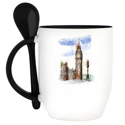 Кружка с ложкой Биг-Бен -Big Ben-Англия-Лондон