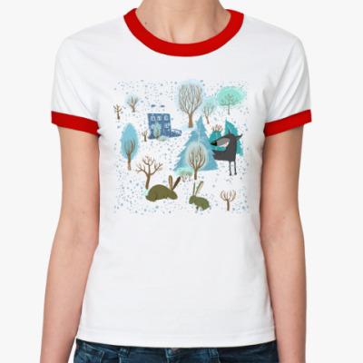 Женская футболка Ringer-T 'Волк зимой...'