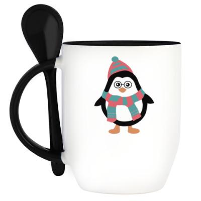 Кружка с ложкой Пингвин