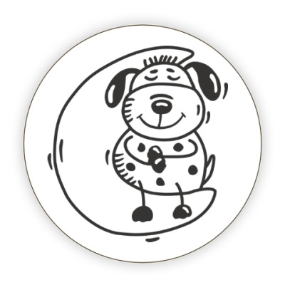 Костер (подставка под кружку) Песик на луне