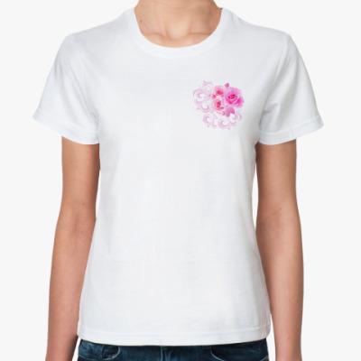 Классическая футболка Букет роз с узорами