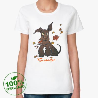 Женская футболка из органик-хлопка Осенний шнауцер