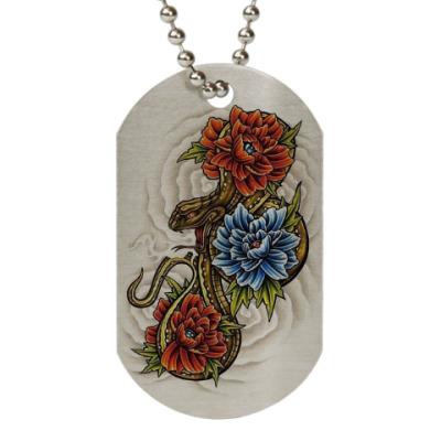 Жетон dog-tag Flowers with a snake/Цветы со змеёй
